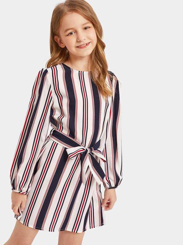 614a7167e9 Girls Keyhole Back Belted Striped Dress   SHEIN UK