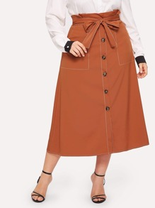 Plus Button Through Belted Paperbag Skirt