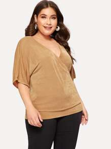 Plus Surplice Front Solid Tee