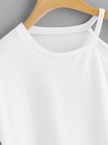 d5796457ad Asymmetrical Neck Letter Taped Tee | SHEIN