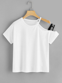 Asymmetrical Neck Letter Taped Side Tee
