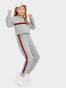 Girls Striped Tape Crop Pullover & Pants Set