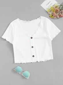 Lettuce Trim Button Front Crop Tee
