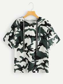 Plus Camo Print Drawstring Hooded Tee