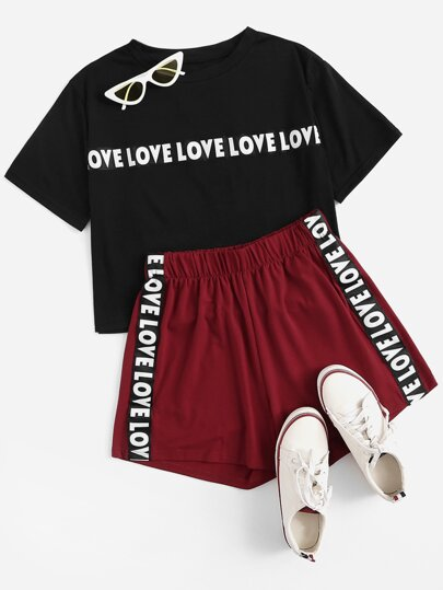 Plus Slogan Graphic Top With Contrast Letter Taped Side Shorts