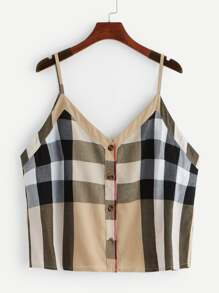Plus Madras Plaid Single Breasted Cami Top