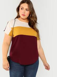 Plus Keyhole Back Color-block Curved Hem Top
