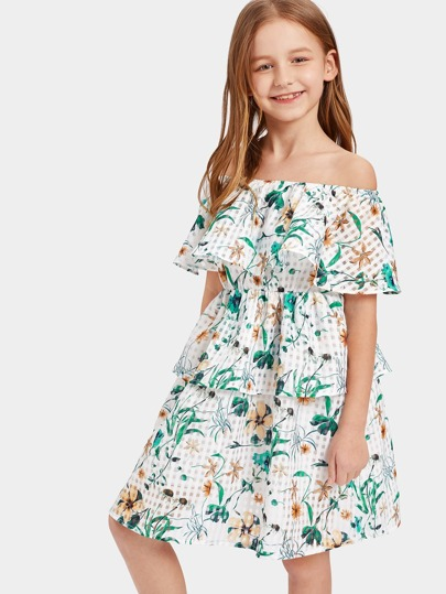 Girls Ruffle Off Shoulder Layered Floral Dress