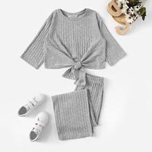 Girls Rib-knit Knot Front Crop Top & Pants Set