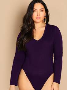 Plus V-neck Solid Bodysuit