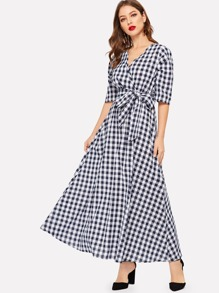 Puff Sleeve Surplice Wrap Gingham Dress With Belt