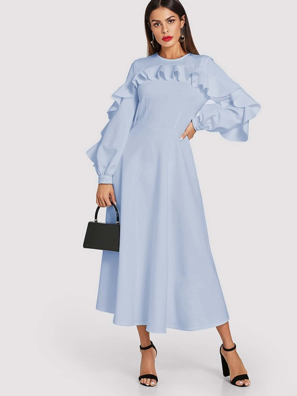 d8f82744ba Exaggerate Ruffle Trim Bishop Sleeve Swing Dress | SHEIN