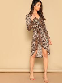 Snakeskin Wrap Waist Asymmetrical Dress