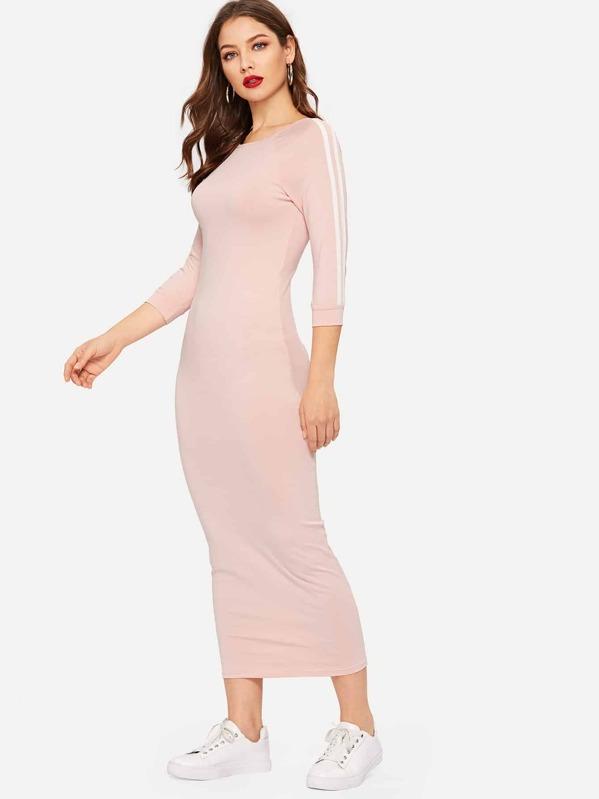 60a2c30b626 Raglan Sleeve Striped Bodycon Dress