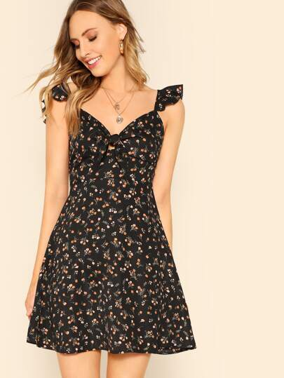 Knot Front Ruffle Trim Floral Dress
