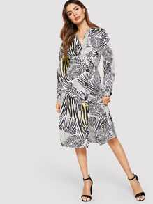 Button Front Animal Print Wrap Dress