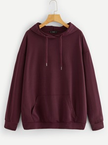 Pocket Patched Drawstring Hoodie