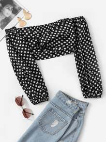 Twist Detail Polka Dot Crop Blouse