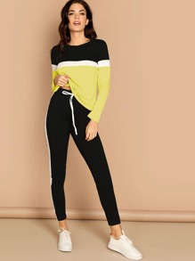 Colorblock Top and Contrast Sideseam Pants Set