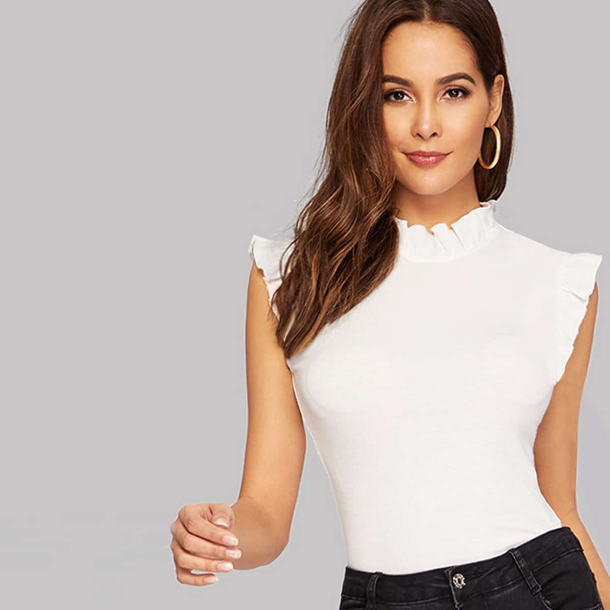 SHEIN coupon: Frilled Trim Keyhole Back Fitted Tee