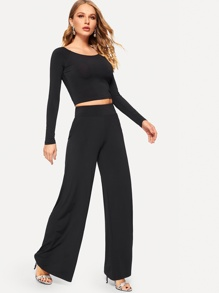 Raglan Sleeve Fitted Crop Tee & Wide Leg Pants Set