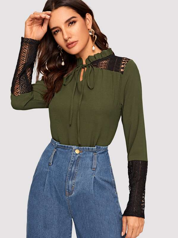 a2956e1cf8 Frilled Tie Neck Lace Insert Blouse   SHEIN