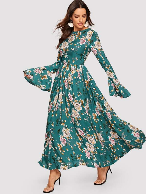 51b6c5381477 Trumpet Sleeve Floral Maxi Dress   SHEIN UK