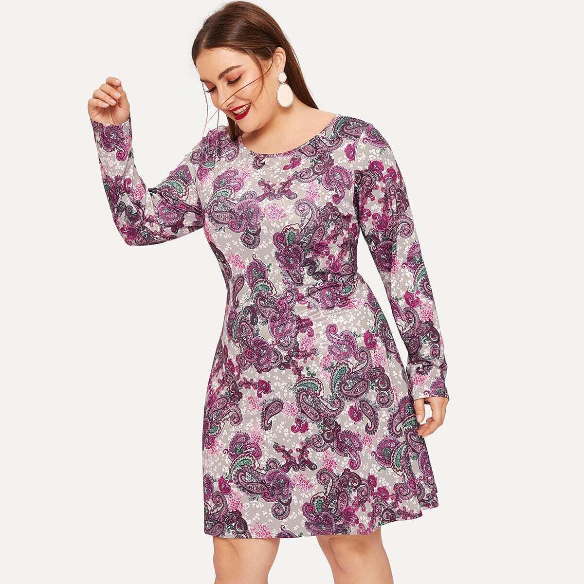 Plus Paisley Print Dress