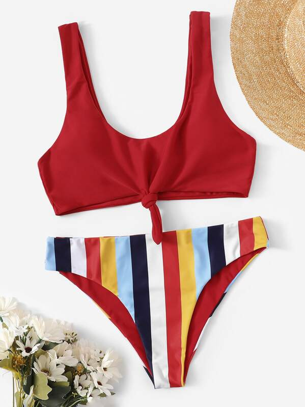 8a15c31052fdd0 Knot Front Top With Striped Bikini Set