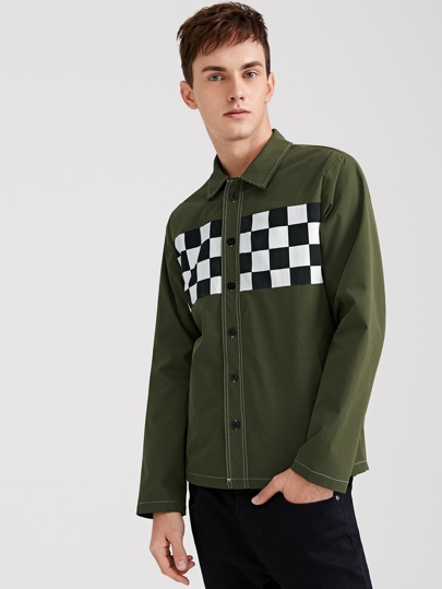Men Checked Panel Contrast Stitch Shirt Jacket