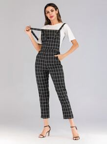 Window Pane Check Pinafore Jumpsuit