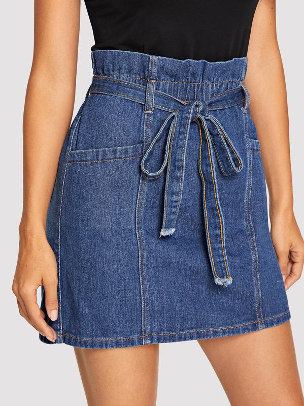 dcd9bbc32d Paperbag Waist Denim Skirt With Belt | SHEIN UK