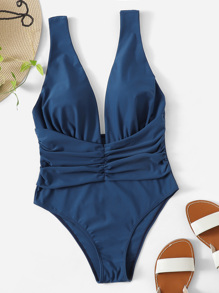 Plunge Neck Ruched One Piece Swimsuit