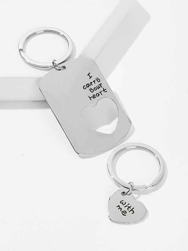 83fc162194 Letter Pattern Metal Charm Couple Keychain 2pack | SHEIN