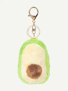 Fluffy Avocado Charm Keychain