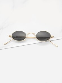 Men Metal Frame Oval Lens Sunglasses