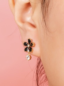Rhinestone Decor Flower Drop Earrings 1pair