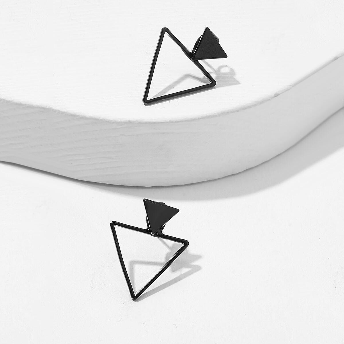 Серьги-гвоздики с открытым треугольником 1 пара