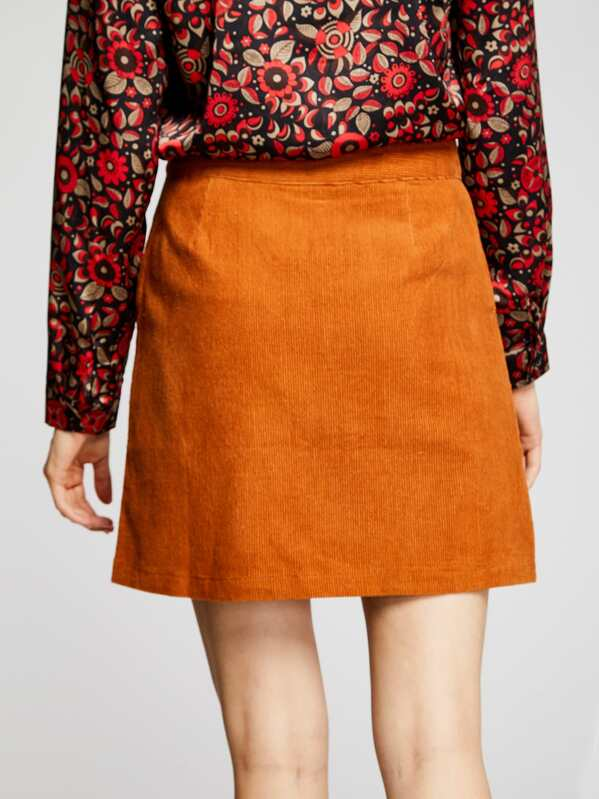 a0e0cfd54d Cheap Zip Front Corduroy Skirt for sale Australia | SHEIN