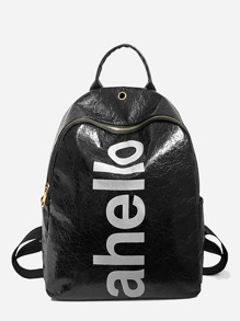 Letter Print PU Backpack