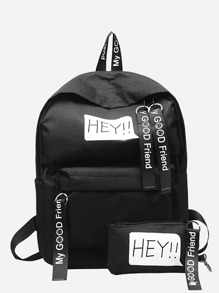 Slogan Ribbon Decor Backpack With Wallet