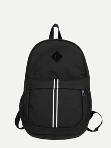 Striped Detail Nylon Backpack