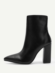 Point Toe Side Zipper Boots