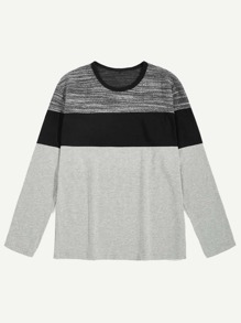 Men Cut And Sew Panel Color-block Tee