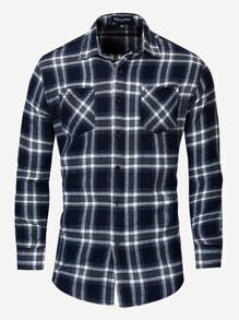 Men Curved Hem Plaid Shirt
