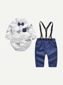 Toddler Boys Bow Detail Romper With Shorts