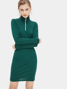 Zip Detail Ribbed Dress