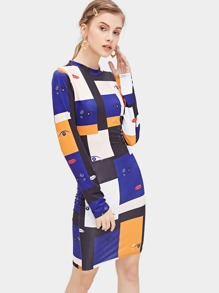 Colorblock Eye Print Dress