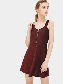 Zip Detail Solid Dress
