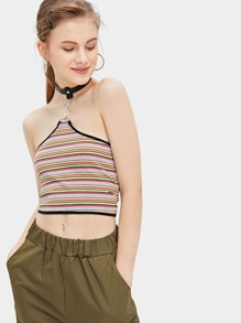 Ring Striped Halter Crop Skinny Top